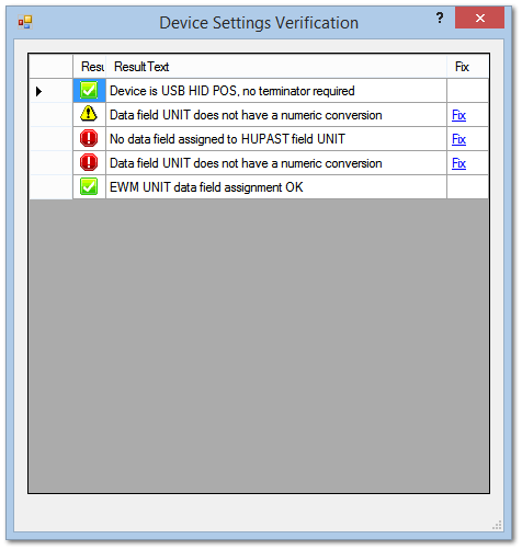 Device Settings Verification Window