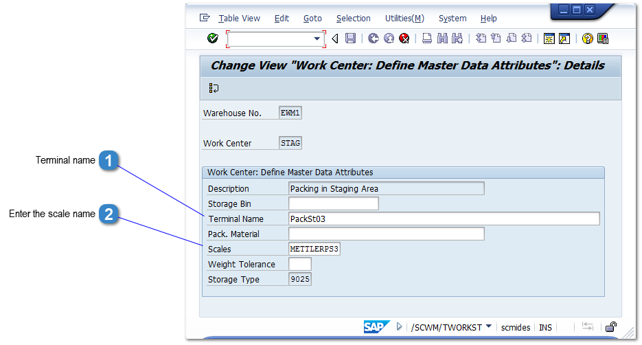Add a Scale to a Work Centre in EWM