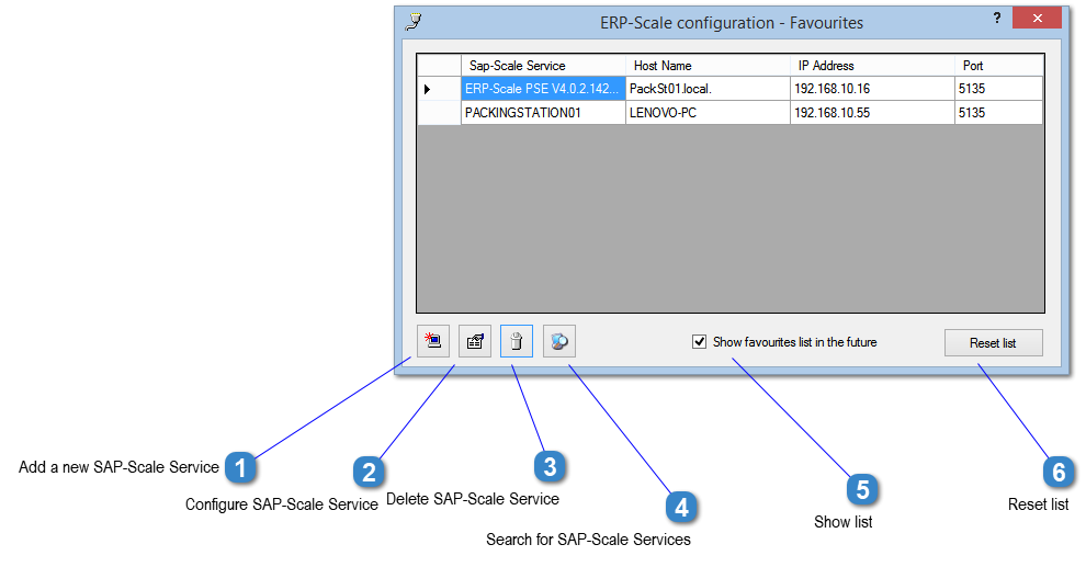 ERP-Scale Configuration - Favourites Window