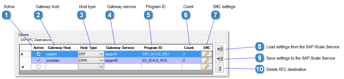 SAP RFC Settings