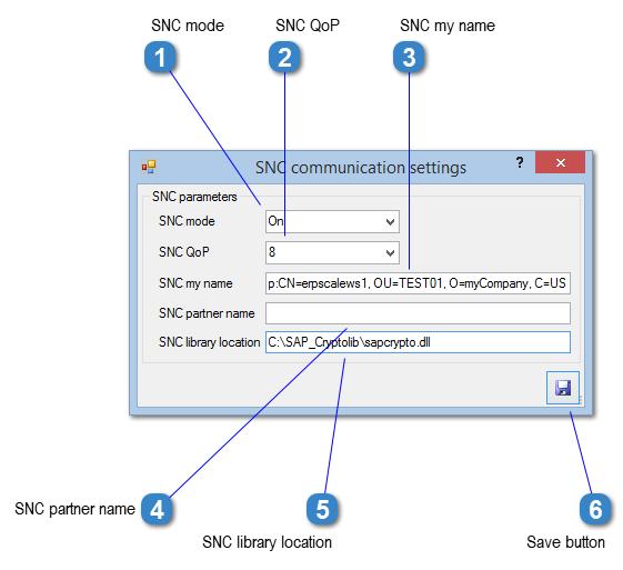 SNC Communication Settings Window