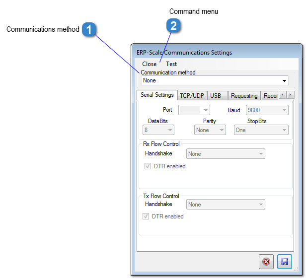 ERP-Scale Communications Settings Window